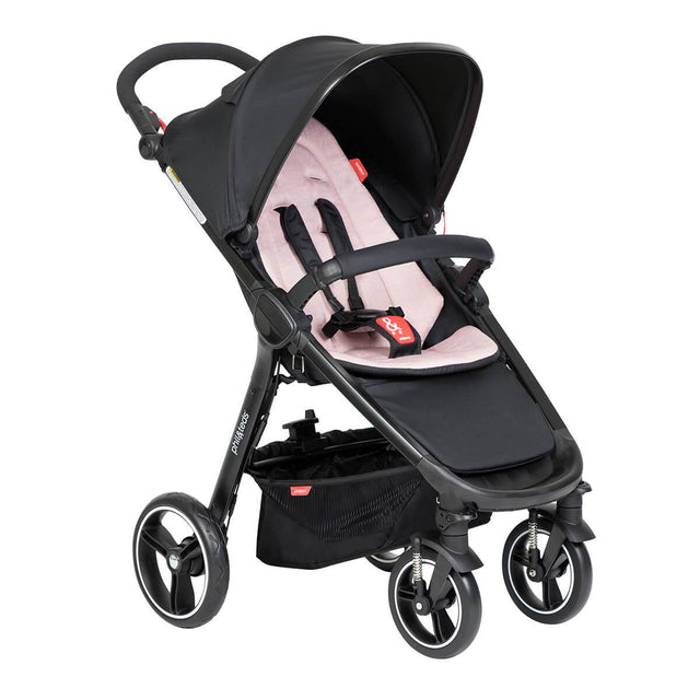 phil&teds compact smart buggy with blush liner 3/4 view_blush