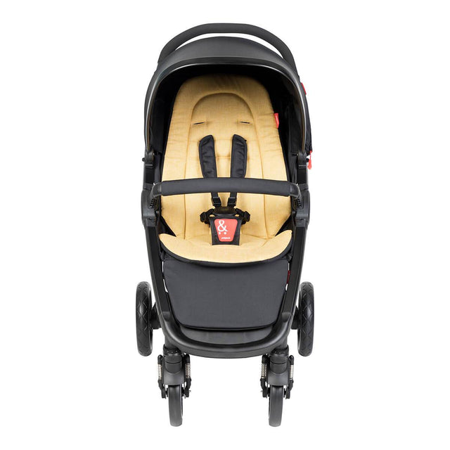 phil&teds compact smart buggy with butterscotch liner front view_butterscotch