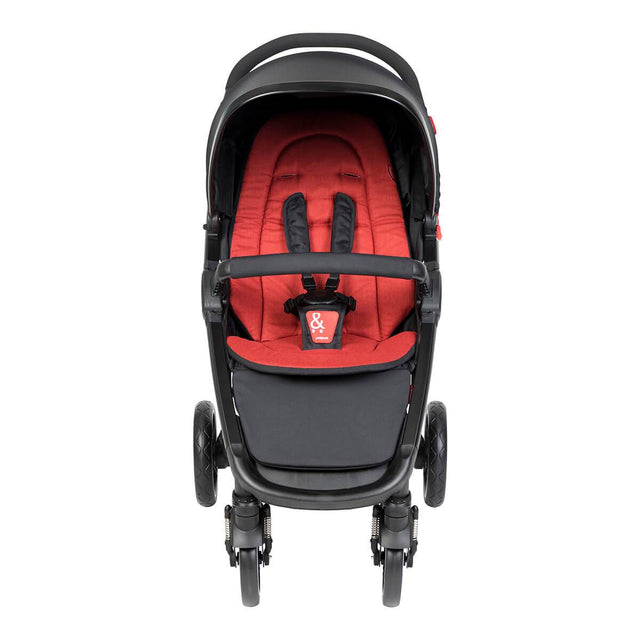 phil&teds compact smart buggy with chilli liner front view_chilli