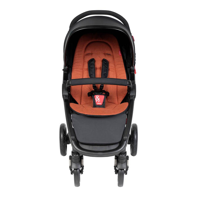 phil&teds compact smart buggy with rust liner front view_rust
