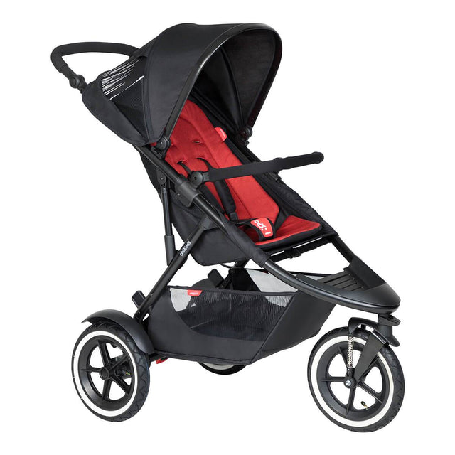 phil&teds sport inline buggy in chilli red 3qtr view_chilli