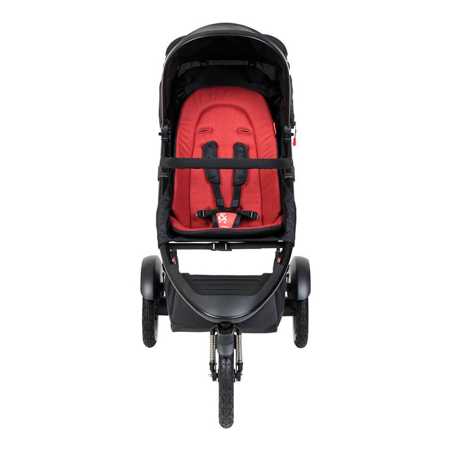 phil&teds sport inline buggy in chilli red front view_chilli