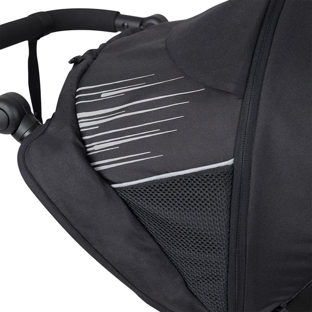 phil&teds sport inline buggy sunhood with mesh details and pocket close up_charcoal