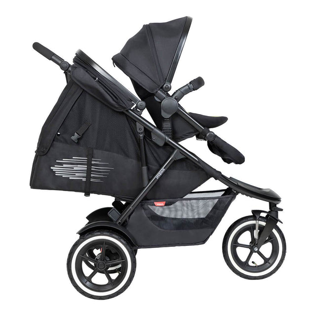 phil&teds inline sport buggy with double kit in front and sling seat in lie flat for newborn