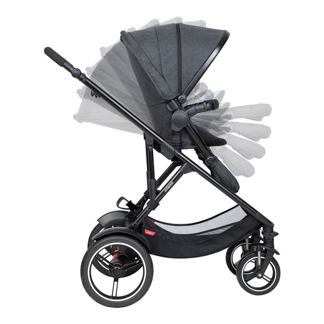 phil&teds voyager inline buggy in multiple semi recline modes_charcoal