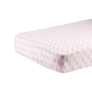Pink Deer Crib Sheet