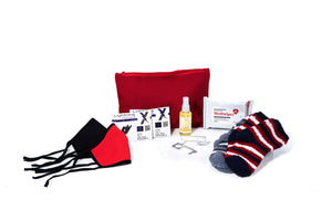 The MB Travel Pack shown here, which includes: a large zipper pouch, four pairs of nitrile gloves, hand sanitizing spray, a pack of hand sanitizing wipes, two hands free keychains, two face covers, and two cozy socks.