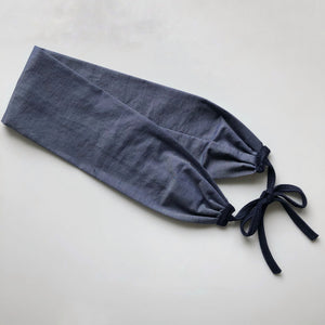 Dark blue linen headband with navy ties