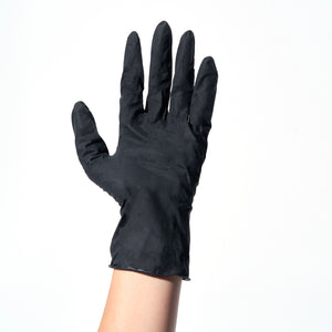 A hand with a black Nitrile disposable glove on.