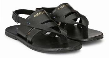 ALBERTO TORRESI MEN FINN BLACK SANDALS