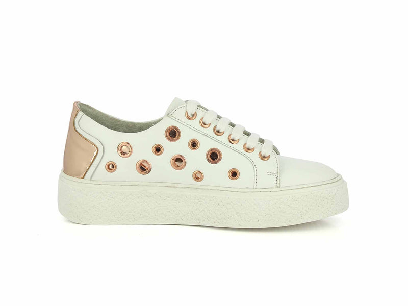 Women White Rose Gold Sneakers