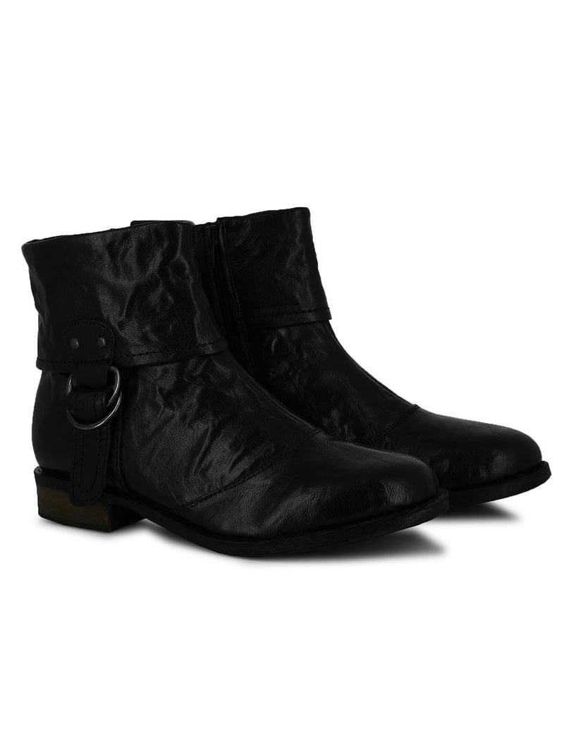 Vintage Black Leather Buckle Boots
