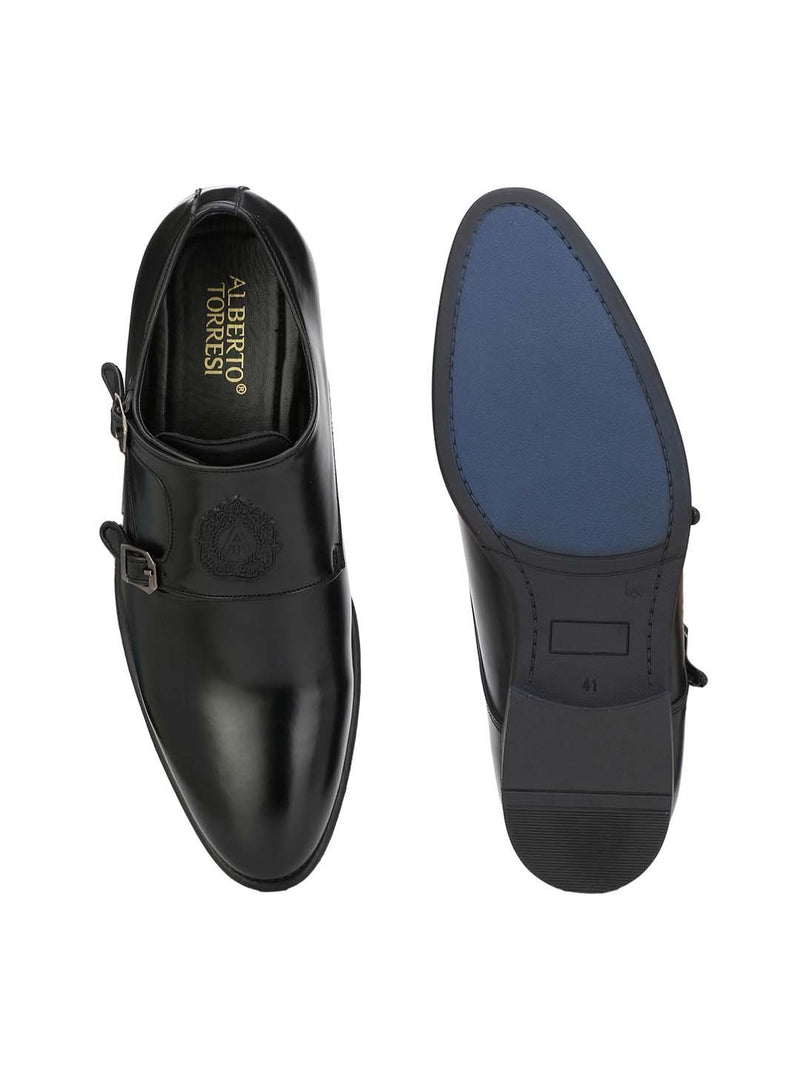Alberto Torresi Men's Toro Black Double Monk Straps