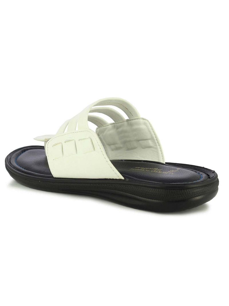 Alberto Torresi Men's White Mason Three Strap Slippers