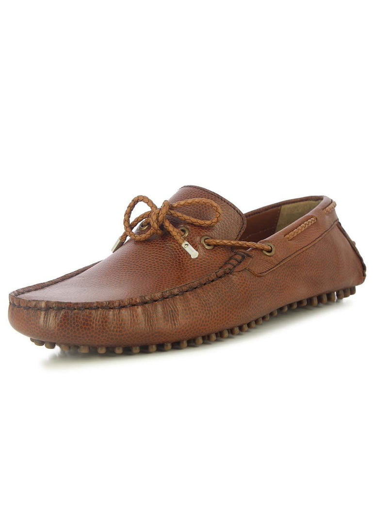 Alberto Torresi Mens Brown Jamie Ruched Loafers
