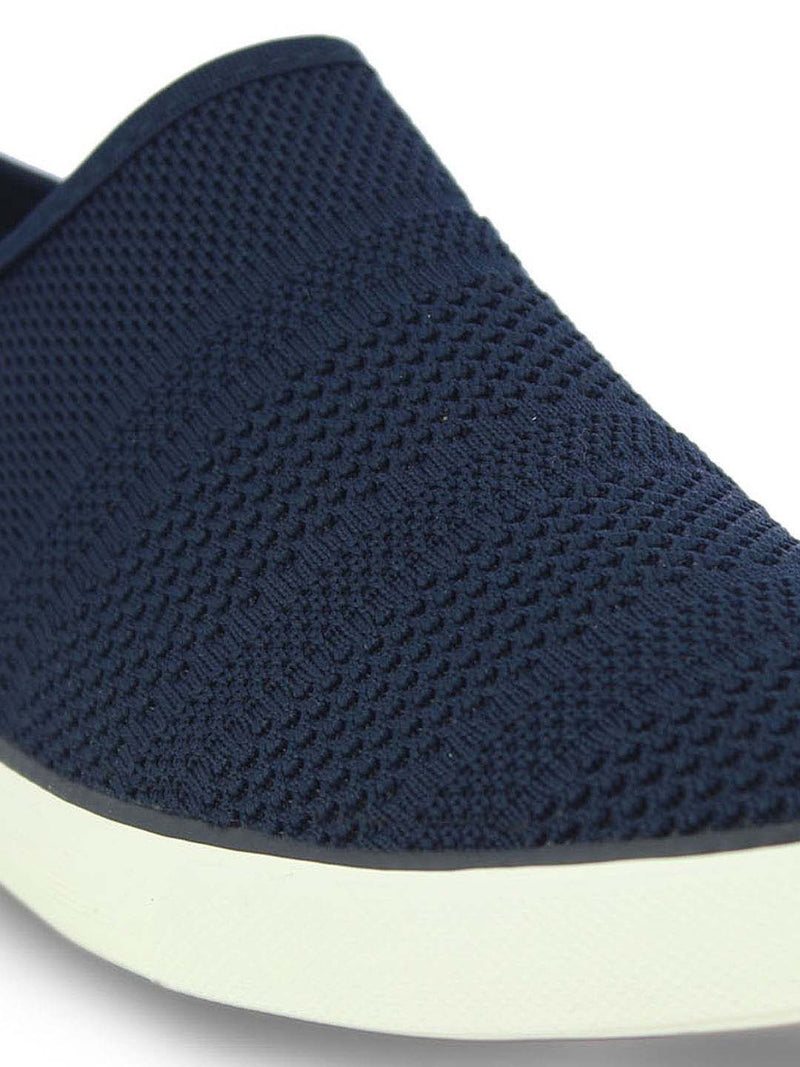 Alberto Torresi Mens Navy self textured woven slip ons