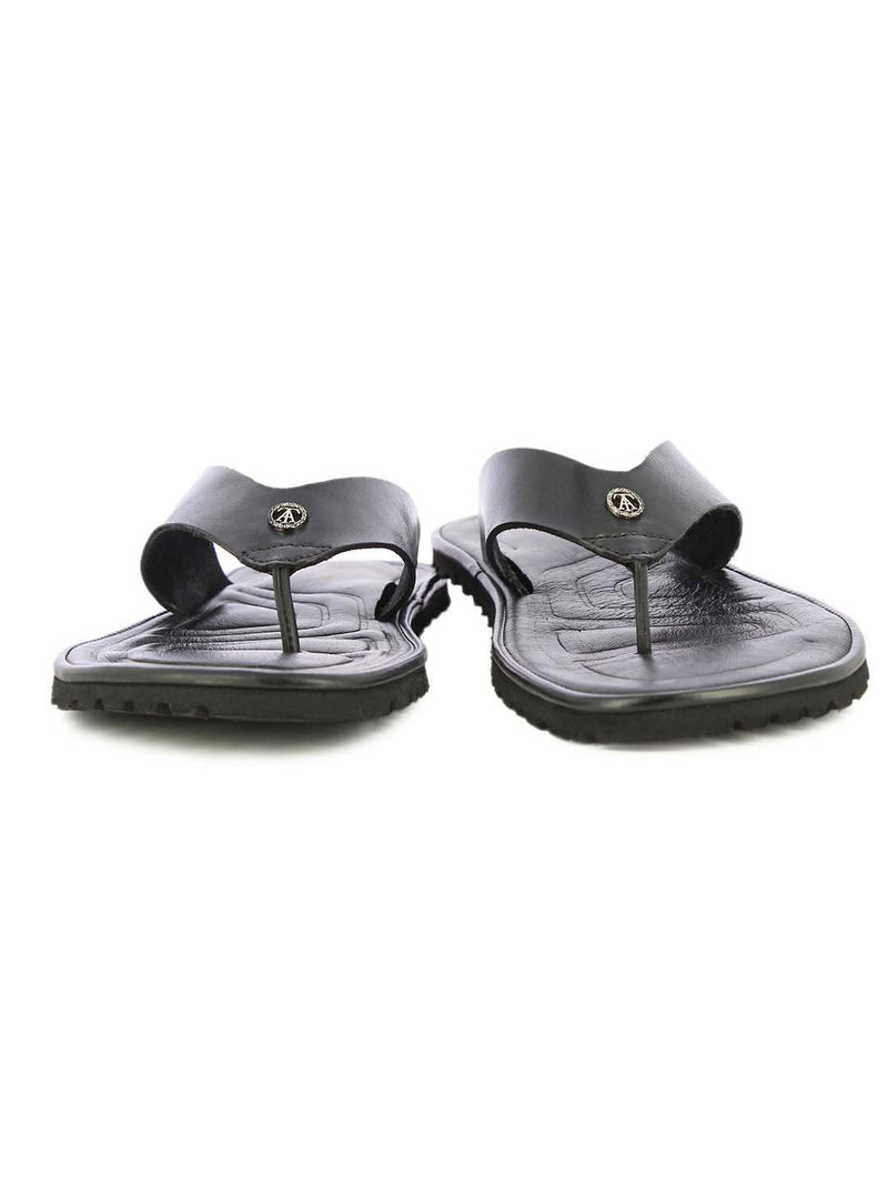 Alberto Torresi Mens Black Teddy Wide Bar Slippers