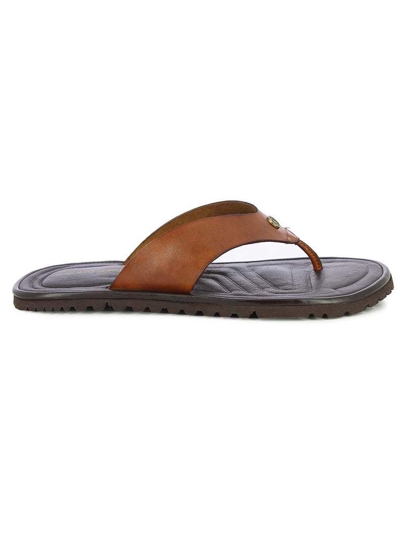 Alberto Torresi Mens Tan Teddy Wide Bar Slippers