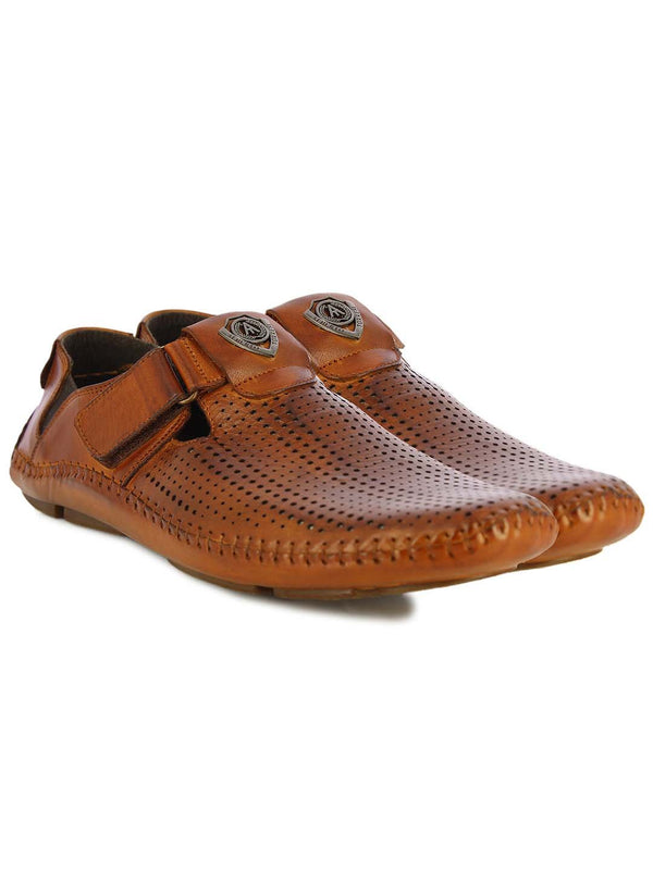 Alberto Torresi Mens Tan Albert Perforated Sandals