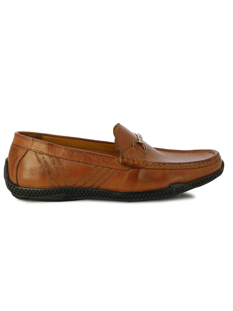 Alberto Torresi Mens Jack Tan Embossed Loafers