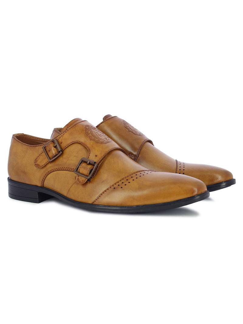 Alberto Torresi Men's Alcott Tan Double Monk Strap Shoes