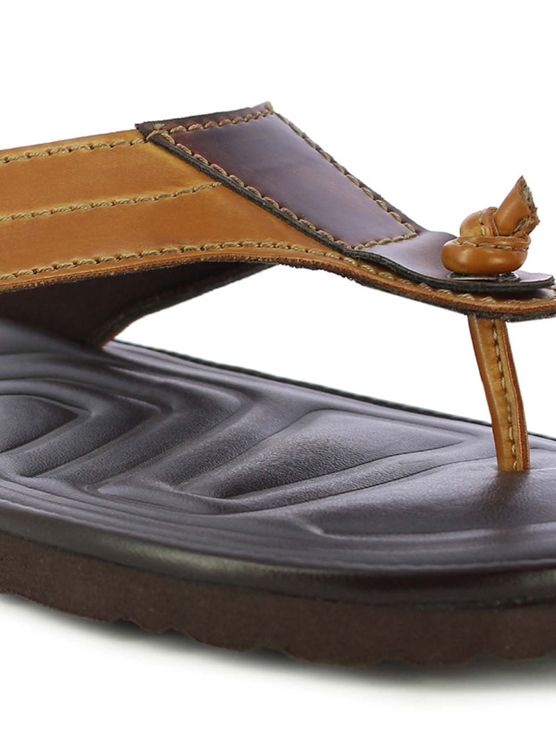 Alberto Torresi Men's Tan+Bordo Slippers