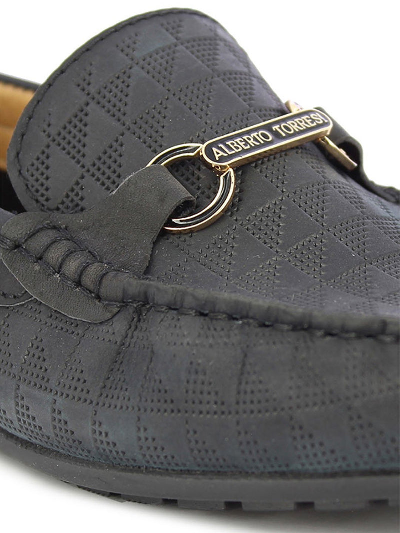Alberto Torresi Men's Tevis Navy Buckle Loafer