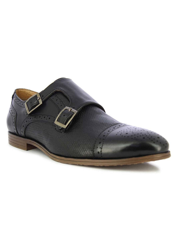 Alberto Torresi Men's Marfa Black Monk Formal Shoes