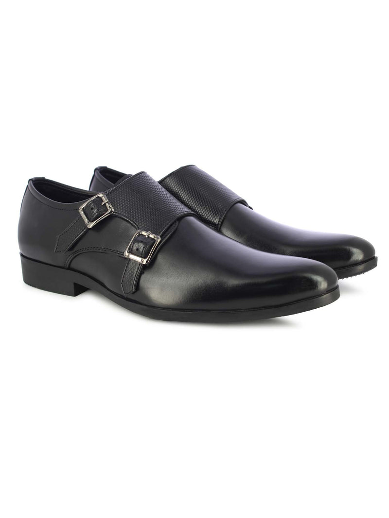 Alberto Torresi Men's Black Double Monk Straps