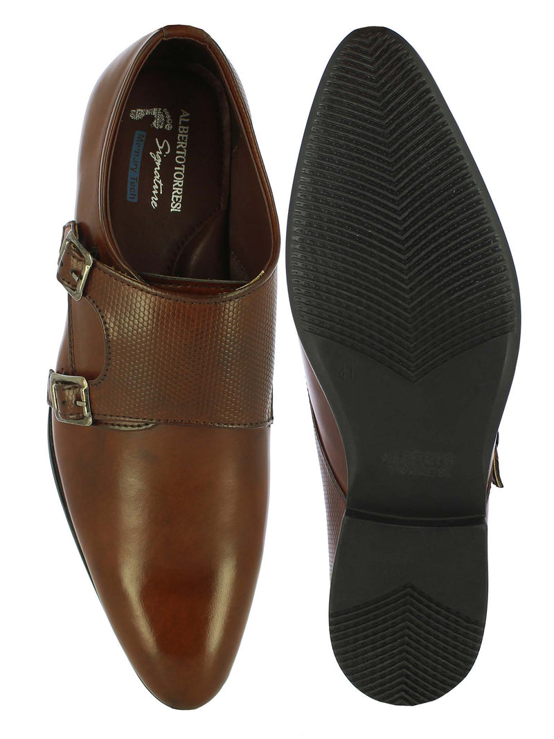 Alberto Torresi Men's Brown Double Monk Straps