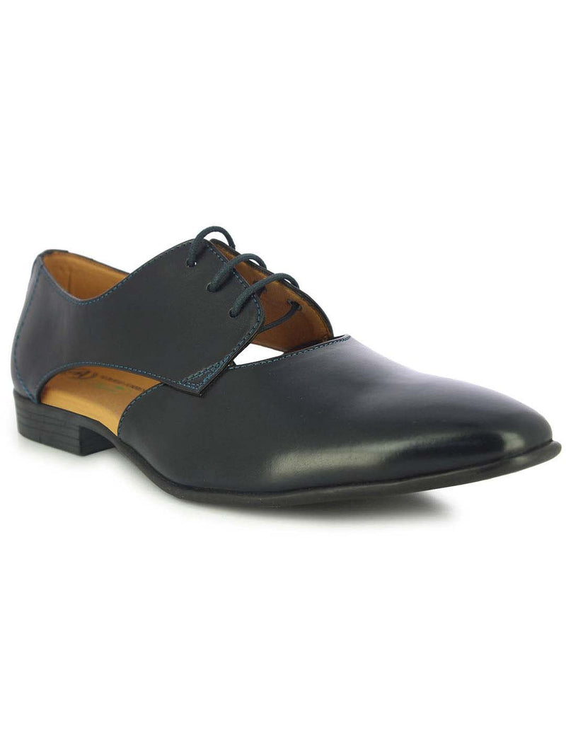 Alberto Torresi Men's Theodore cut-out Blue Oxfords