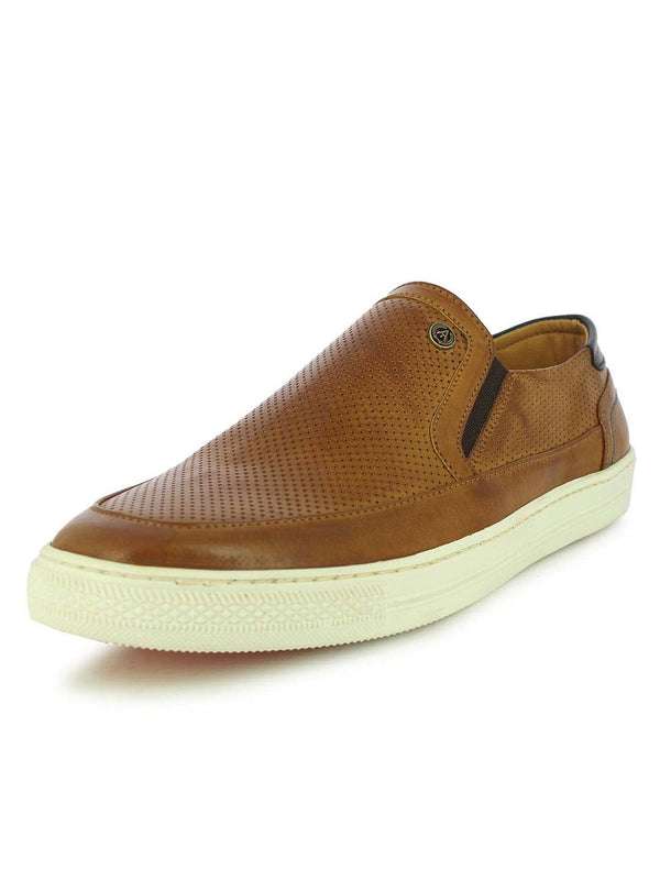 Alberto Torresi Men's Destin Tan and Brown Textured Slip-ons