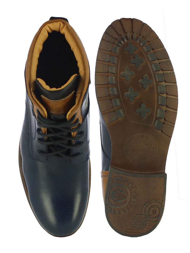 Alberto Torresi Men's Fortin Navy and Tan Boots