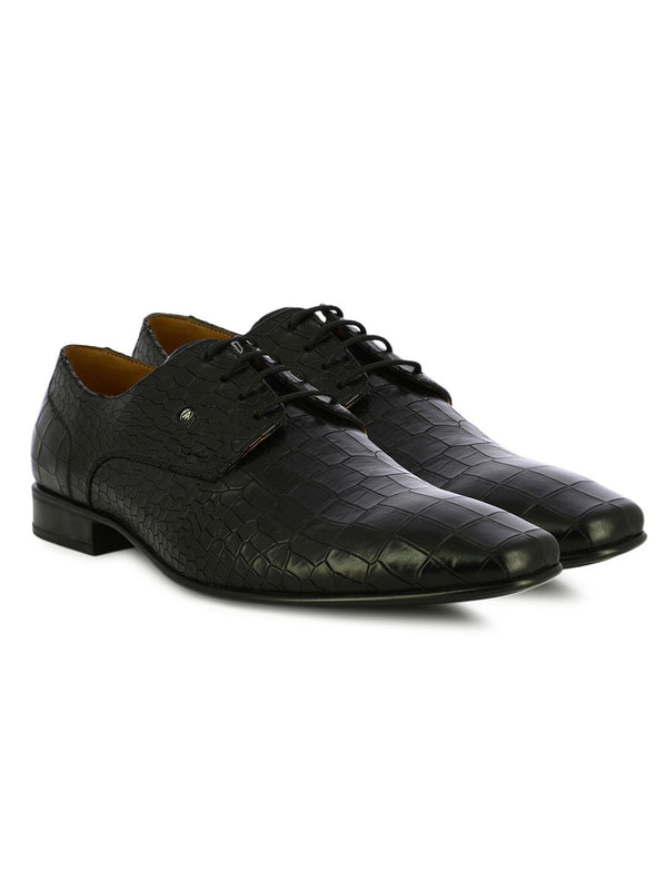 Black Animal Leather Lace Up Shoes