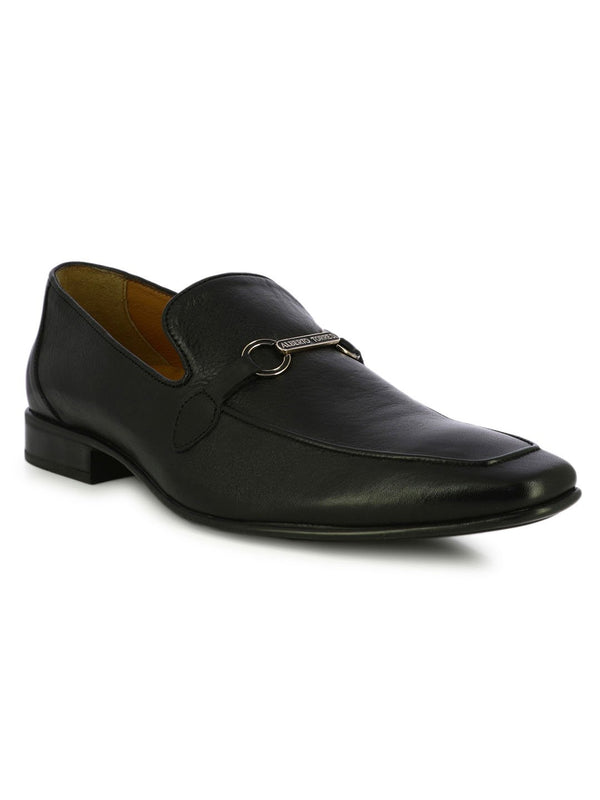 Classic Black Leather Slip On Shoe