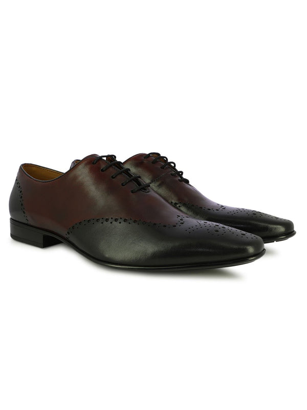 Bordo And Black Leather Party Shoes