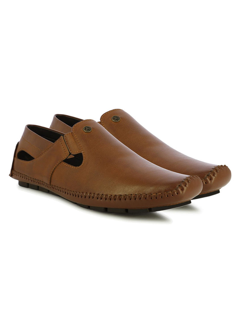 Tan Synthetic Leather Sandals For Urbane Men