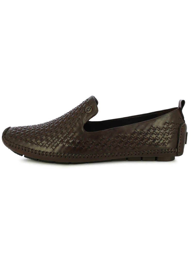 Indian Festive Slip On Shoes In Brown For Men