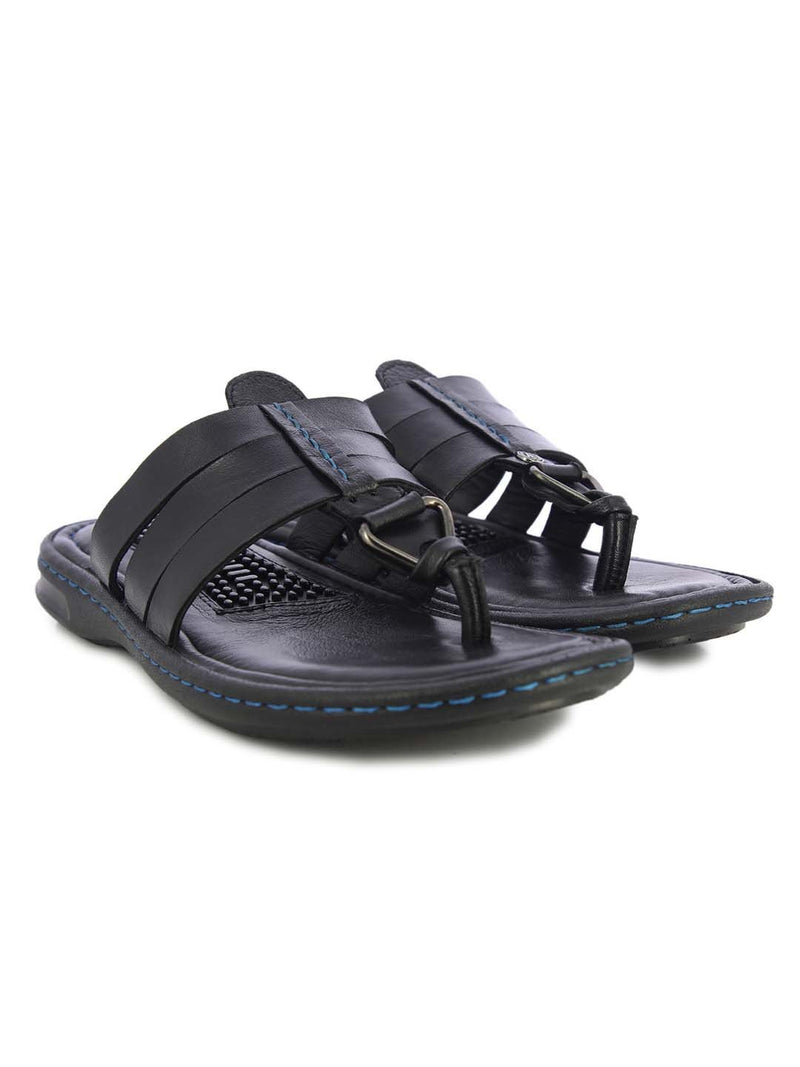 Alberto Torresi Mens Black Mason Three Strap Slippers