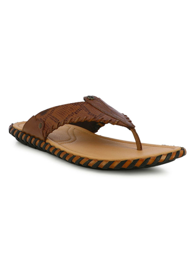 Pattern Tan Leather Slippers For Men