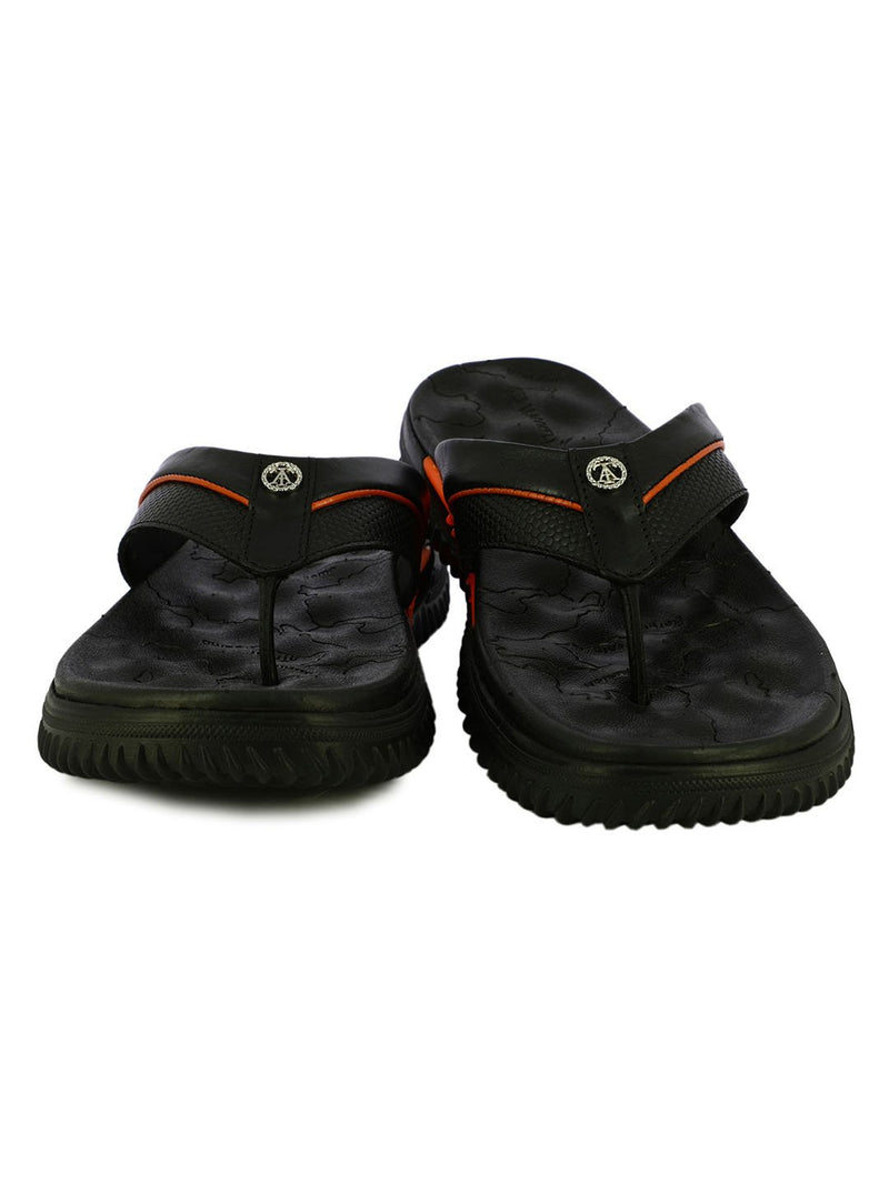 Black And Orange Trendy Leather Slippers For Men