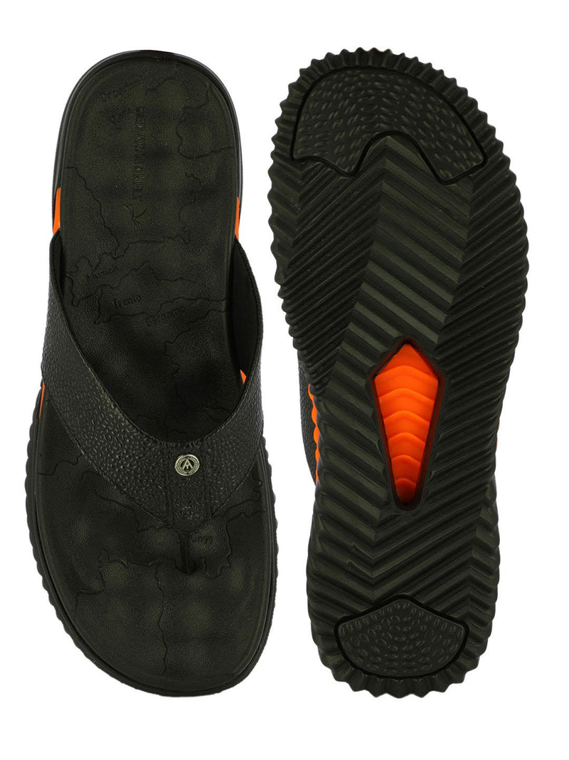 Men's Leather Slippers In Black With Thick Sole