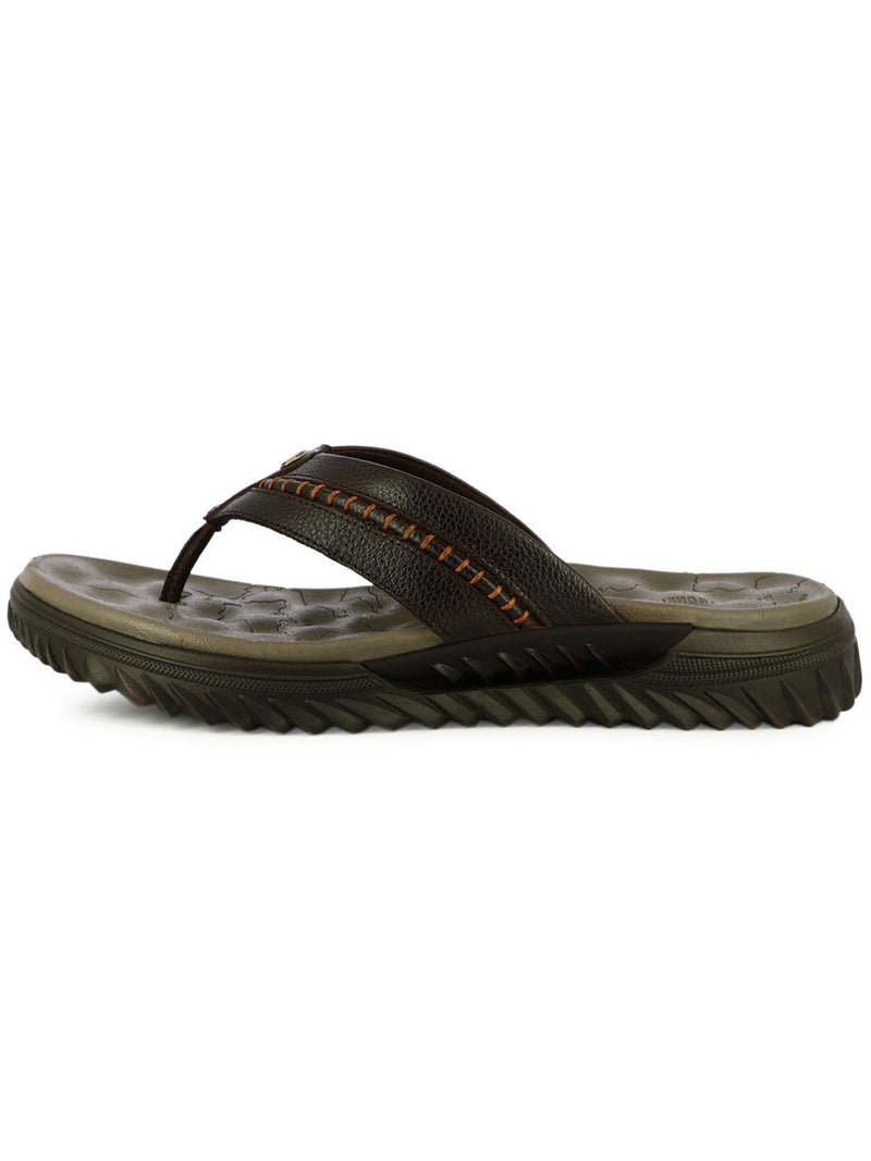 Dark Brown Leather Flip Flops For Men