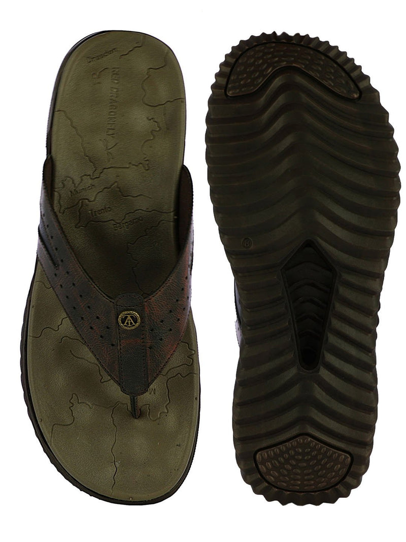 Dark Brown Thick Sole Slippers For Men
