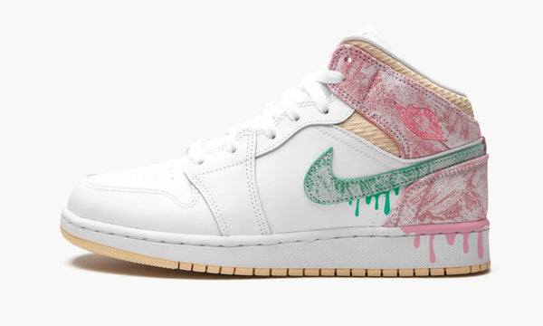 "Air Jordan 1 Mid GS ""Paint Drip"" - DD1666 100"
