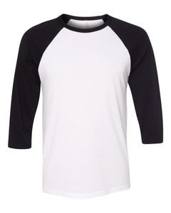BELLA + CANVAS Unisex Three-Quarter Sleeve Baseball Tee 3200