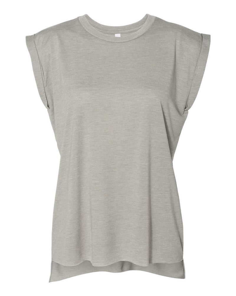 BELLA + CANVAS Women's Flowy Rolled Cuffs Muscle Tee 8804