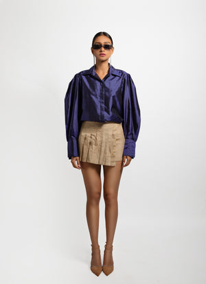 Muga Asymmetrical Pleated Skirt