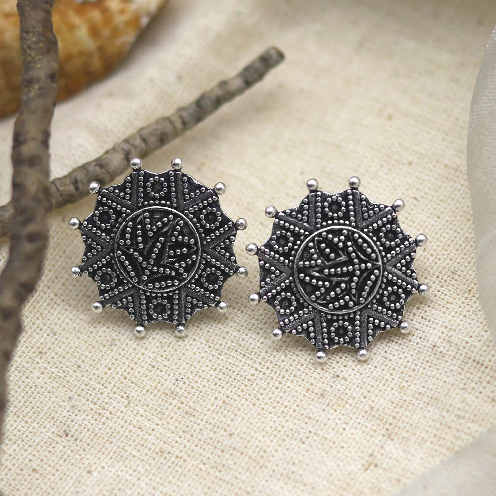 Nagma Circle Silver Oxidized Studs Earrings