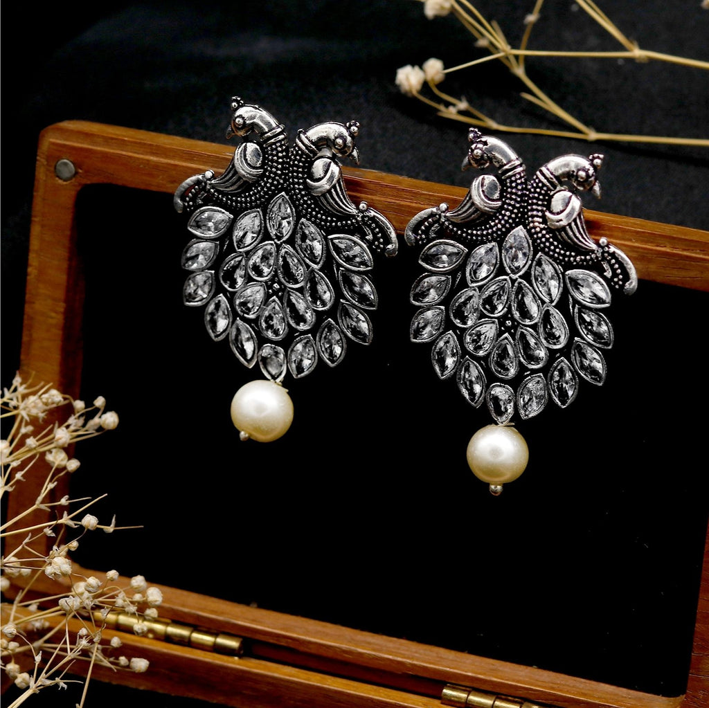 Sarangi Silver Oxidised White Earrings - Teejh
